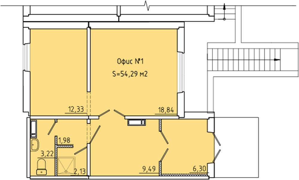 Планировка № 1373; офис 1001
